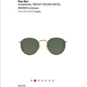 Round gold/green RayBans size 53